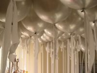 Giant Balloons on RibbonsSimple and Elegant. These giant pearl balloons create the atmosphere you are looking for! Silver balloons on satin ribbons. Click To Zoom