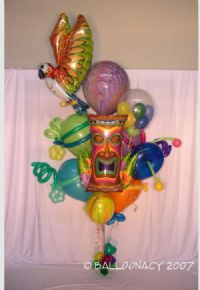 Loopy LuauHaving a tropical party?  This is a giant Hawaiian luau on ribbons!  Tons of polynesian balloons to choose from including; tiki, parrot, hibiscus, hula dancer, flip flops, aloha, palm tree, honu turtle, dolphins, tropical fish, aloha shirt, rainbow, sunshine and more.   Click To Zoom