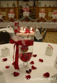 Red Rose VaseThis beautiful counter-sunk rose with floating candles and rose petals will add just right touch of elegance you are looking for! Centerpieces. Click To Zoom