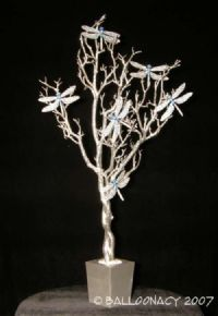 Silver Tree Blue DragonfliesStunning, sparkling and elegant! Also available in Gold. For Rent or Purchase. Click To Zoom